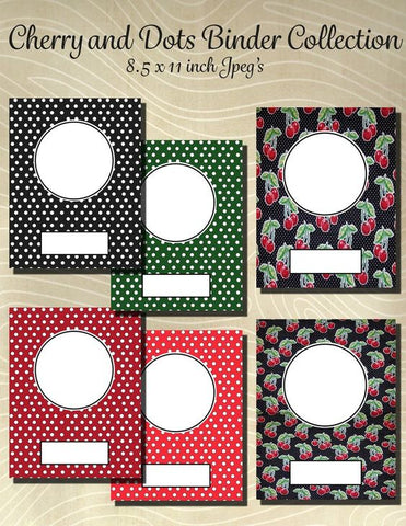 Cherry Mini Dot Collection Printable Binder Cover Pack-6 Different Covers- Instant Download