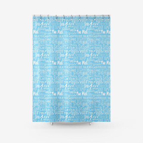 Choose Your Own Custom Color-Figure Skating Subway Style Typography Design Textured Fabric Shower Curtain