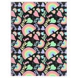 Pastel Love, Rainbows and Hearts Design on Black - Minky Blankets