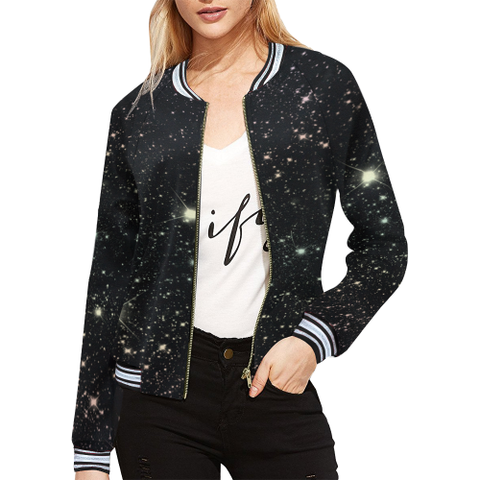 Women's Crop Bomber Jacket in Galaxy Print-by Hxlxynxchxle