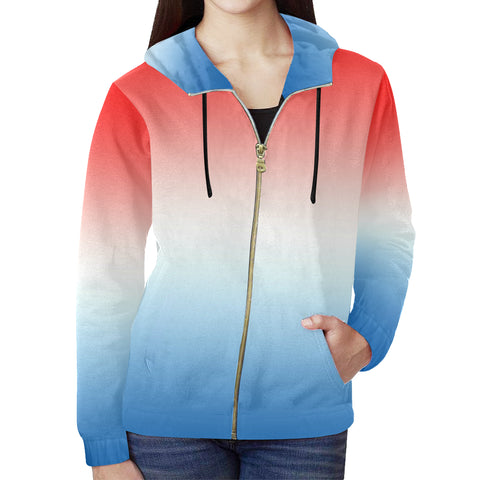 Gradient Red, White, and Blue All Over Print Full Zip Hoodie for Women