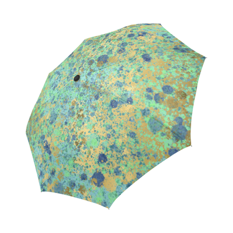 Blues and Gold Patina Design Auto-Foldable Umbrella