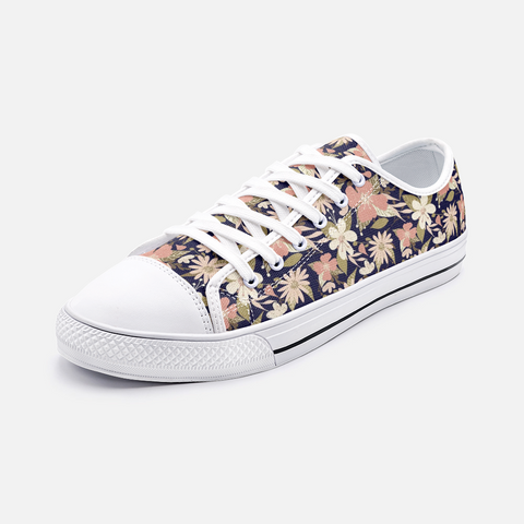 Retro Tropical Floral Print in Blush and Cream on Deep Navy -Unisex Canvas Shoes