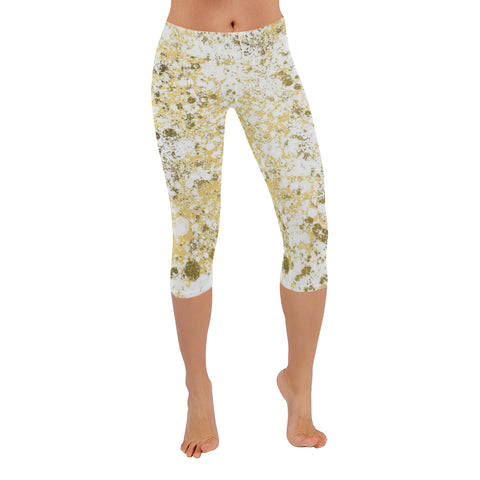 White and Gold Patina Design Low Rise Capri Leggings