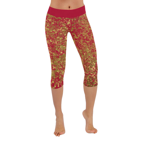 Red and Gold Patina Design Low Rise Capri Leggings