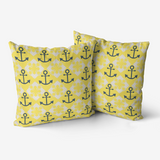 Nautical Knots and Anchors Design on Illuminating Yellow Premium Hypoallergenic Throw Pillow