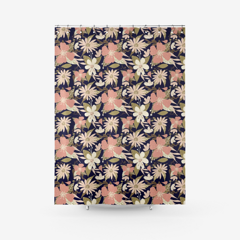 Tropical Floral Print in Blush and Cream on Deep Navy Textured Fabric Shower Curtain