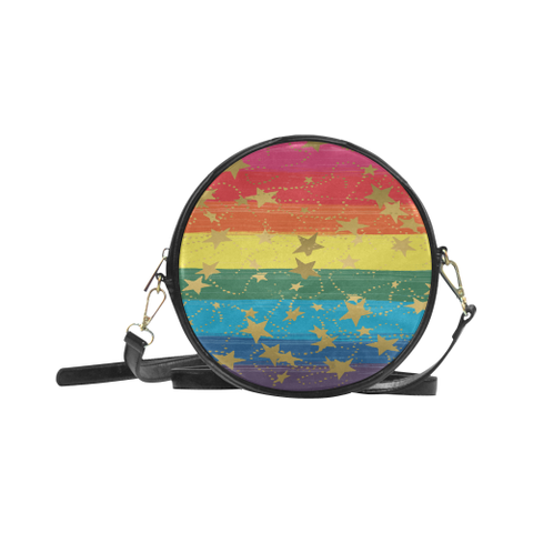 LGBT Gradient and Gold Stars Style 3- Round Sling Bag