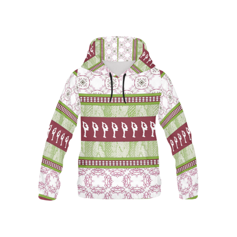 "Youth Figure Skating ""Hoodie- Sweater"" Design in Cranberry and Green Style 2"