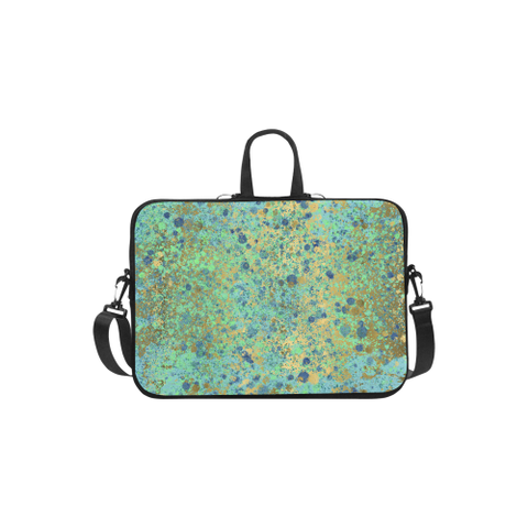 Women's Blues and Gold Patina Design Laptop Handbags 11""