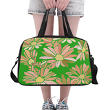 Daisy Floral Design with Gold -Set 2 Fitness Weekender Bag in a Variety of Colors