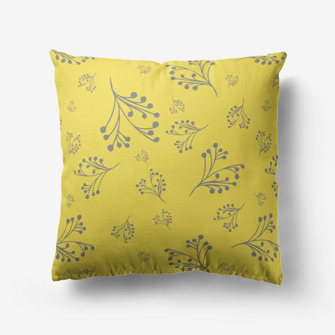 Flourishes in Ultimate Gray on Illuminating Yellow Premium Hypoallergenic Throw Pillow