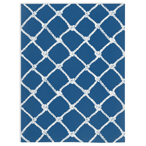 Nautical Rope in White on Classic Blue Design Minky Blankets