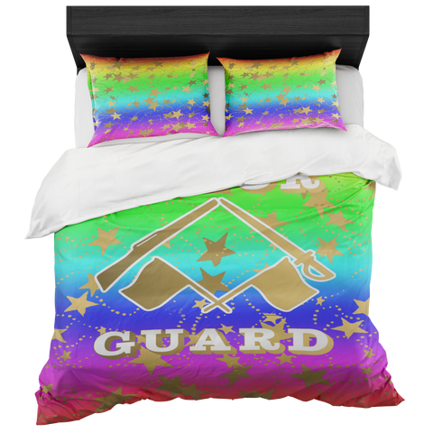 Color Guard Rainbow and Gold Stars Duvet- Bed-in-a-Bag Set-Includes Two Pillow Shams