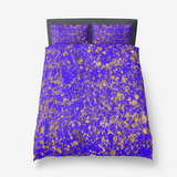 Indigo Blue and Gold Patina Microfiber Duvet Cover with Pillow Sham(s)