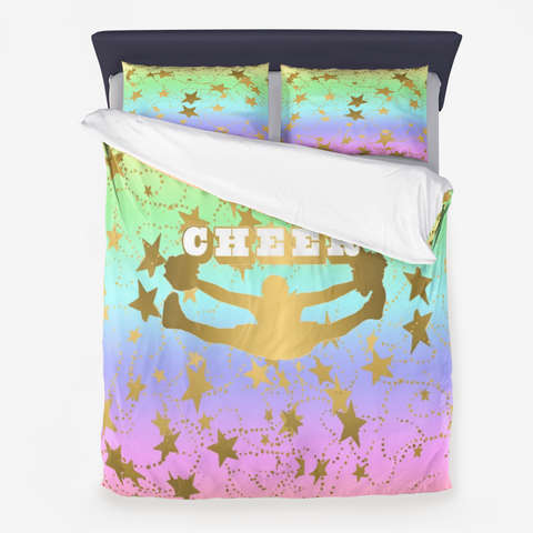 Cheer Silhouette With Stars in Gold and Rainbow Gradient 4-Duvet -Bed-in-a-Bag- Includes Two Pillow Shams