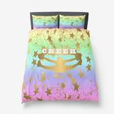 Cheer Silhouette With Stars in Gold and Rainbow Gradient 4-Duvet -Bed-in-a-Bag- Includes Two Pillow Shams( one with a Twin)