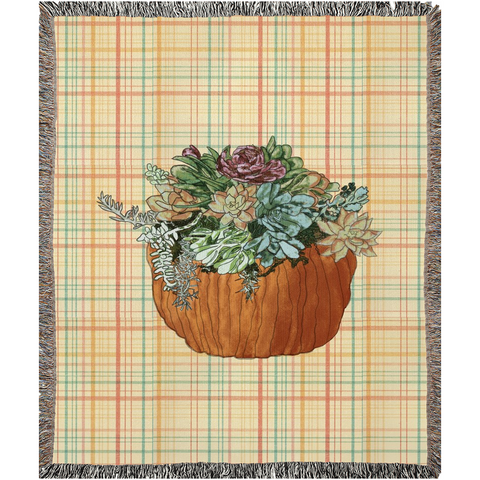 Succulents in Pumpkin on Fall Plaid Woven Blankets