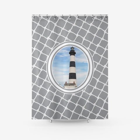 Nautical Bodie Lighthouse on Ultimate Gray Design Textured Fabric Shower Curtain