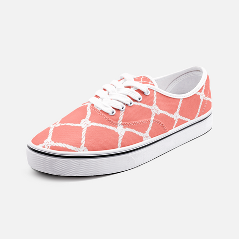 Nautical Rope Deign in White on Living Coral -Unisex Canvas Shoes Fashion Low Cut Loafer Sneakers