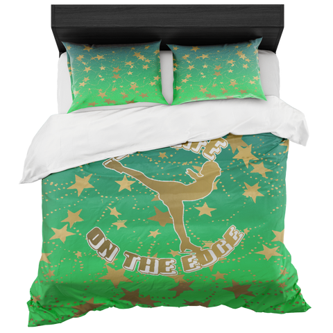 Figure Skating Live Life on the Edge-Lime Gradient and Gold Stars Duvet- Bed-in-a-Bag Set-Includes Two Pillow Shams