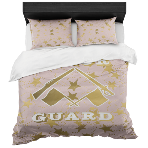 Color Guard Pale Pink and Gold Stars Duvet- Bed-in-a-Bag Set-Includes Two Pillow Shams