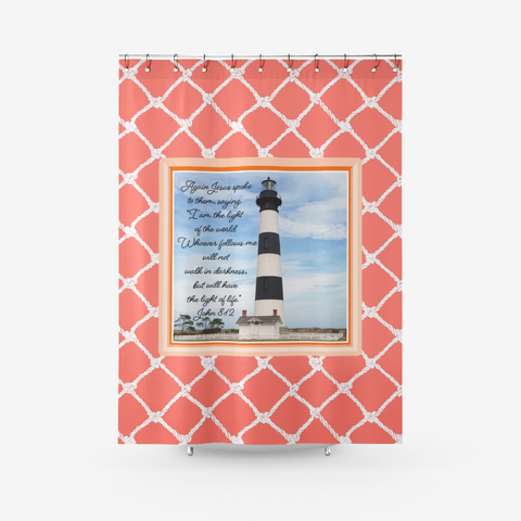 Bodie Island Lighthouse-N.C. Featuring John 8-12 Passage -on Living Coral-Textured Fabric Shower Curtain