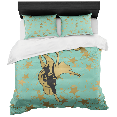 Dancer Silhouette in Gold with Stars on Mint-Duvet with 2 Pillow Shams