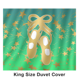 Ballet Shoes Silhouette in Gold and Lime Gradient with Stars Duvet with 2 Pillow Shams