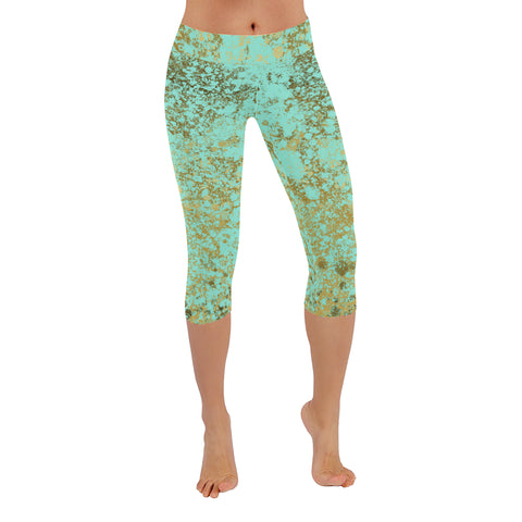 Mint  and Gold Patina Design Low Rise Capri Leggings