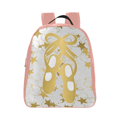 Child's Gold Ballet Shoes in Pink and White with Gold Stars - Small Backpack