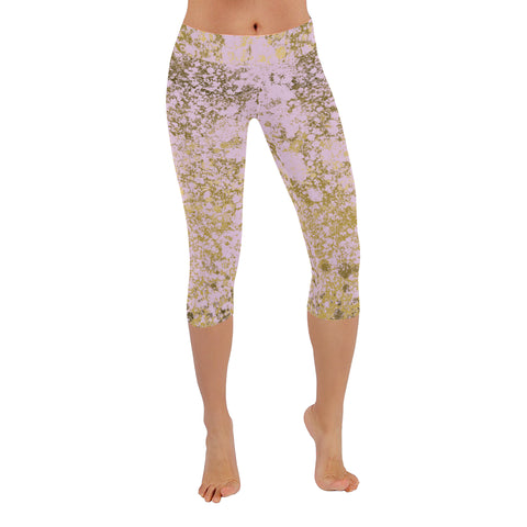 Pale Pink and Gold Patina Style Design Low Rise Capri Leggings