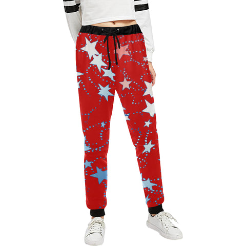 Red, Blue and White Stars Women's All Over Print Sweatpants