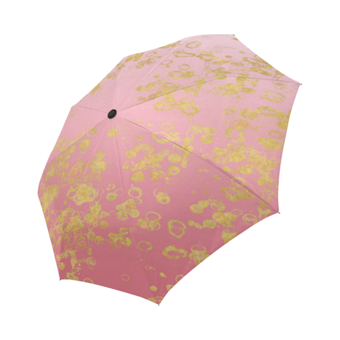 Pink Golden Flake Auto-Foldable Umbrella