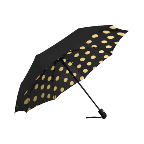 Black and Gold Dot Design Auto-Foldable Umbrella Anti-UV (Underside Printing)