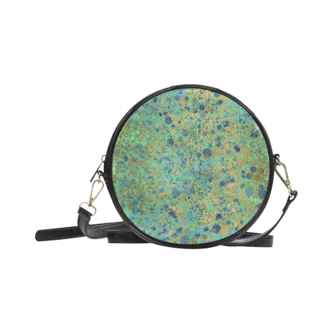 Women's Blues and Gold Patina Design Round Sling Bag