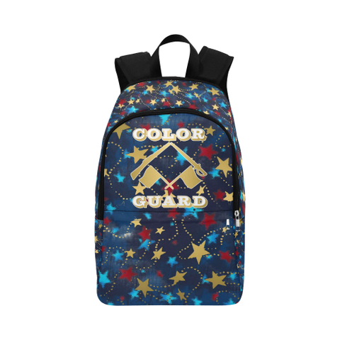 Color Guard Patriotic Design with Gold Stars Fabric Backpack- Great for Teams, Clubs, Groups