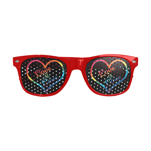 Love is Love Heart Design 5 Frame Colors to Choose From -Custom Sunglasses (Perforated Lenses)