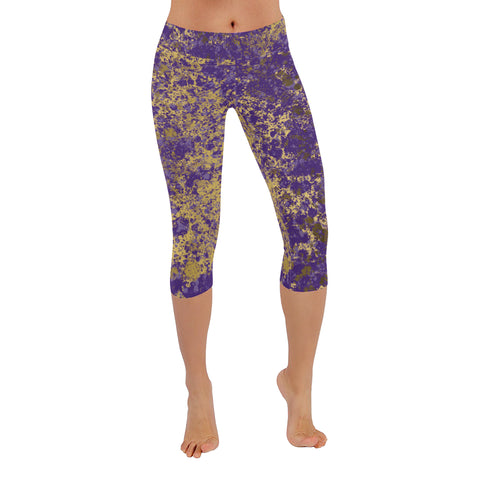 Purple and Gold Patina Design Low Rise Capri Leggings