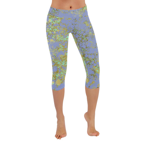 Lavendar and Gold Patina Design Low Rise Capri Leggings