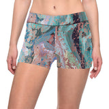 Abstract Painting Design with Rose Gold Flake All Over Print Short Leggings by Hxlxynxchxle