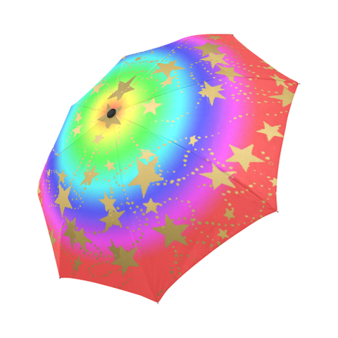 Rainbow Design with Gold Stars- Auto-Foldable Umbrella