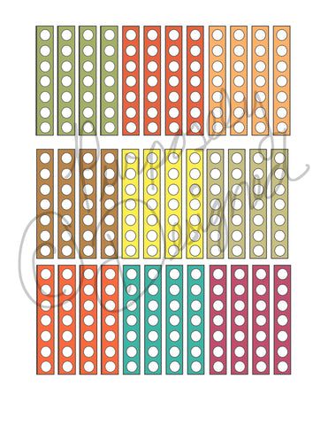 Fall Colors Set 2 Check List Planner Sticker Sheet-Instant Download-Jpeg, PNG, Silhouette Print  N Cut File Formats Included