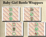 Baby Girl Shower Collection- Printable Water Bottle Wraps- Printable Party Favors- Bottle Labels - Instant Download