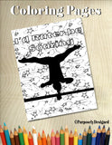 Gymnastics Bars -Soaring-Coloring Page with Stars Background