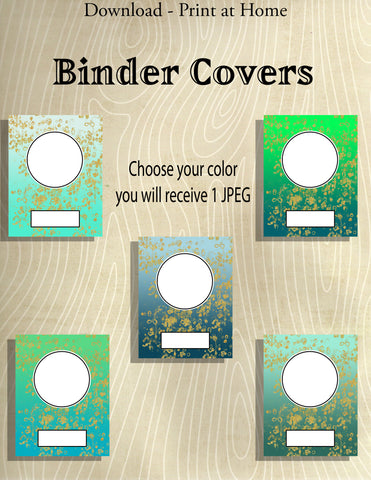 Printable Binder Covers-5 Sizes in Each Color-Blue and Green Color Schemes -Multi-color Gradients with Gold Flakes  -Instant Download- Printable PDF**Not Editable**