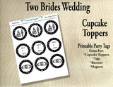 Two Brides Wedding  Cupcake Toppers in Black and Silver/White Gold/Platinum- Printable Party Tags -Printable Party Favors