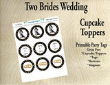 Two Brides Wedding Cupcake Toppers in Black and Gold Style 2 - Printable Party Tags -Printable Party Favors