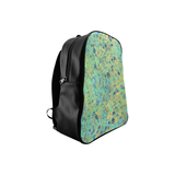 Women's Blues and Gold Patina Design School Backpack/Large (Model 1601)