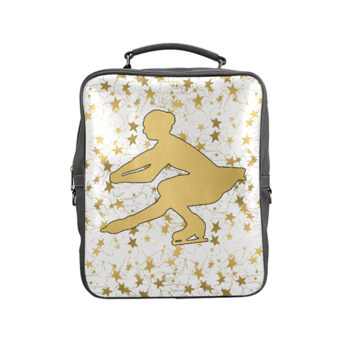 Gold Figure Skater Design on Gradient and Black Square Backpack-Style 1